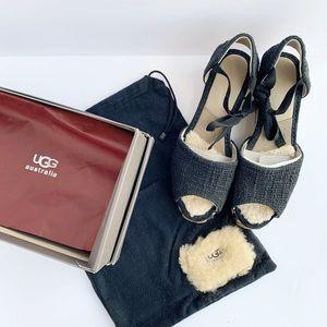 UGG   Black Wedge Espadrille Wedge Sandals w box